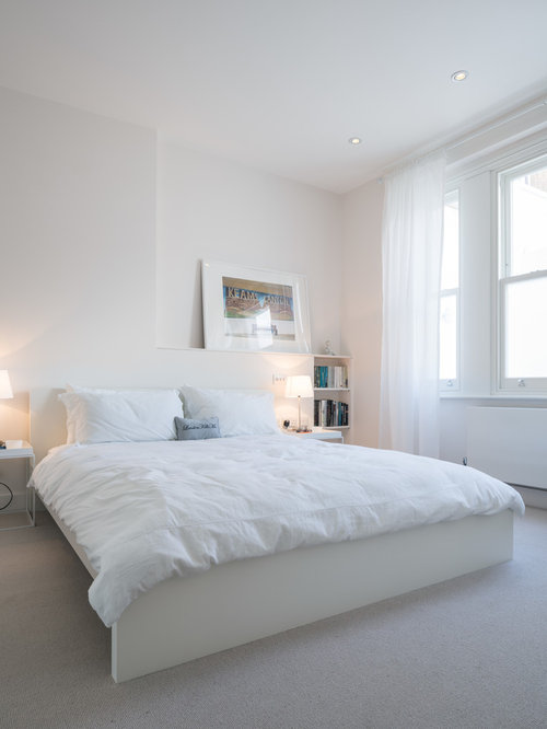 white bedroom. Trendy carpeted bedroom photo in London with white walls All White Bedroom  Houzz