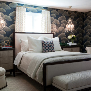Inspiration for a large timeless master carpeted and gray floor bedroom remodel in Baltimore with multicolored walls and no fireplace