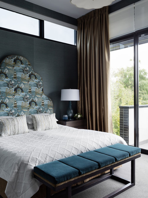 This Is An Example Of An Asian Bedroom In Melbourne With Blue Walls And  Carpet.