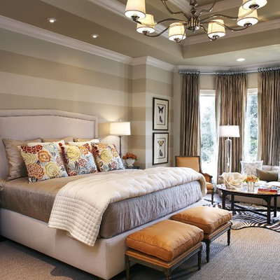 Inspiration for a timeless bedroom remodel in Dallas with gray walls