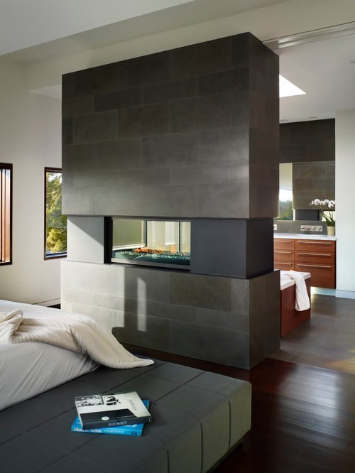 Mid Sized Trendy Master Dark Wood Floor And Brown Bedroom Photo In Toronto With