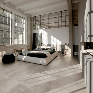 Design ideas for a contemporary loft-style bedroom in Sydney with brown walls, porcelain floors and brown floor.