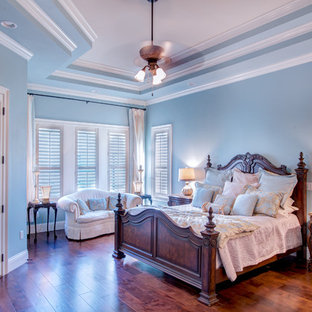 Bedroom - large transitional master dark wood floor and brown floor bedroom idea in Orlando with blue walls and no fireplace
