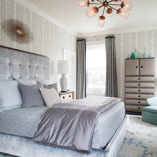 Inspiration for a transitional beige floor bedroom remodel in New York with beige walls