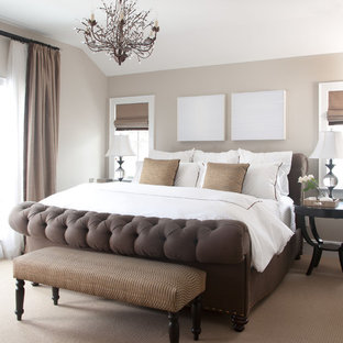 Bedroom Traditional Carpeted Idea In Denver With Gray Walls