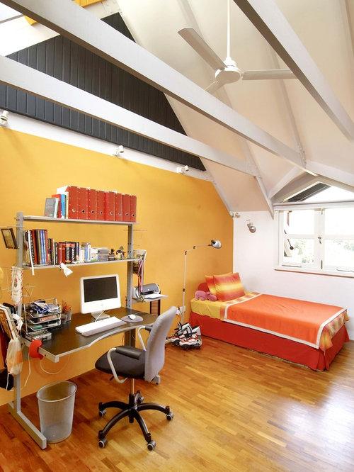 chambre scandinave avec un mur jaune photos et id es d co de chambres. Black Bedroom Furniture Sets. Home Design Ideas