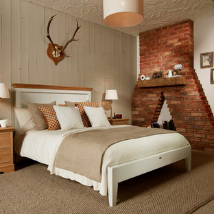 This is an example of a medium sized rustic guest bedroom in Other with white walls, carpet and brown floors.