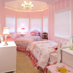Design ideas for a mid-sized victorian guest bedroom in Other with carpet.