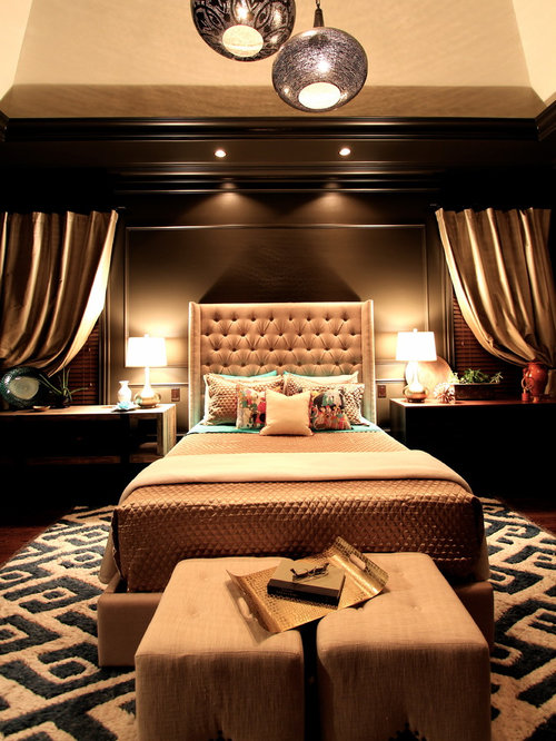 Traditional Bedroom Idea In Charlotte With Black Walls