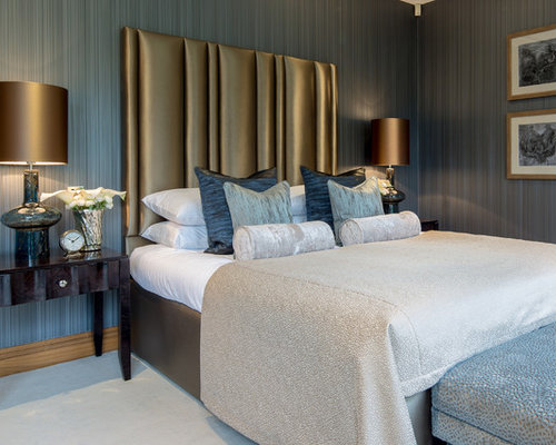 Medium Sized Contemporary Master Bedroom In Berkshire With Grey Walls,  Carpet And No Fireplace.