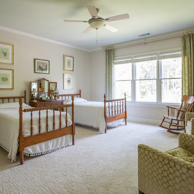 Inspiration for a timeless bedroom remodel in Atlanta with beige walls