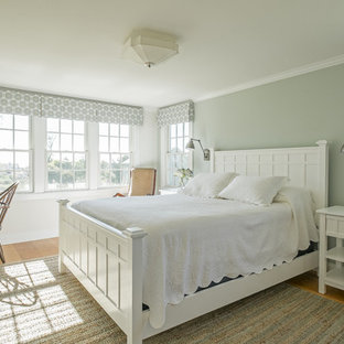 Inspiration for a mid-sized traditional master bedroom in Other with medium hardwood floors, no fireplace and brown floor.