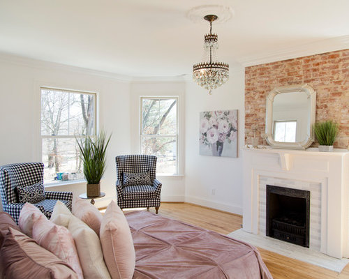 Inspiration For A Large Shabby Chic Style Master Medium Tone Wood Floor And  Brown Floor