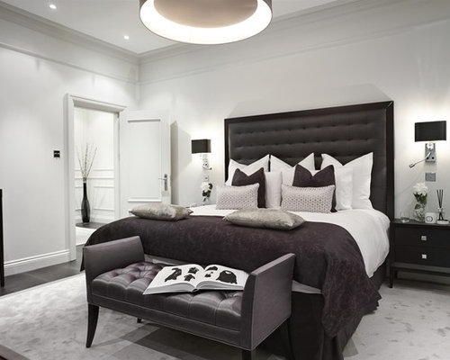 Inspiration For A Clic Bedroom In London With White Walls And Dark Hardwood Flooring