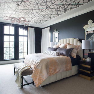 Eclectic carpeted and beige floor bedroom photo in Denver with black walls