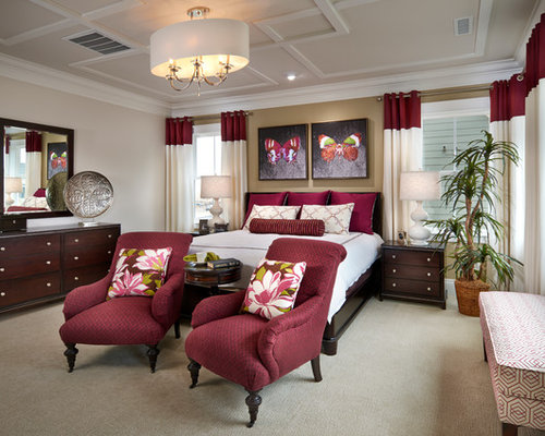 Burgundy drapes houzz for Maroon bedroom designs