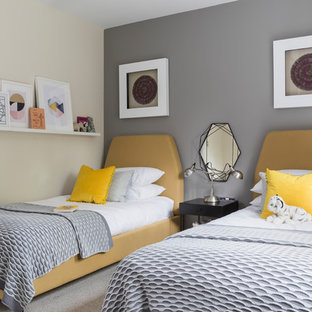 Inspiration for a small traditional guest bedroom in Cheshire with grey walls, carpet and grey floors.