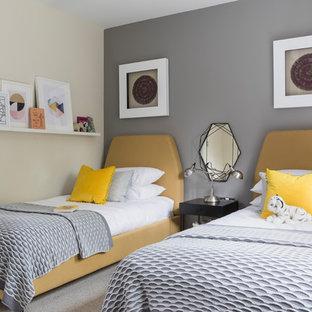 Пример оригинального дизайна: маленькая гостевая спальня в стиле современная классика с серыми стенами, ковровым покрытием и серым полом