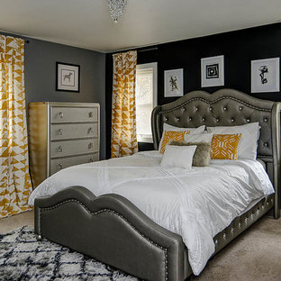 Bedroom - mid-sized transitional master carpeted and brown floor bedroom idea in Philadelphia with gray walls and no fireplace