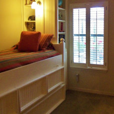 Traditional Bedroom child's custom bed with bookshelf storage and trundle
