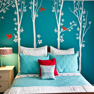 Red And Turquoise Girls Bedroom   Houzz