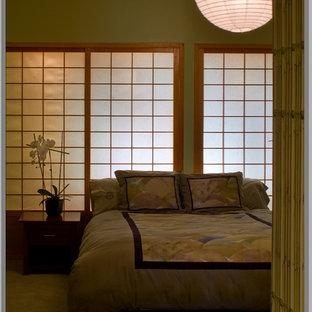 Idéer för ett asiatiskt sovrum, med gröna väggar