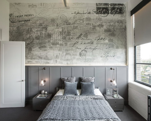 industrial schlafzimmer mit teppichboden ideen design. Black Bedroom Furniture Sets. Home Design Ideas