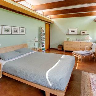 Ejemplo de dormitorio vintage, sin chimenea, con paredes verdes y suelo de cemento