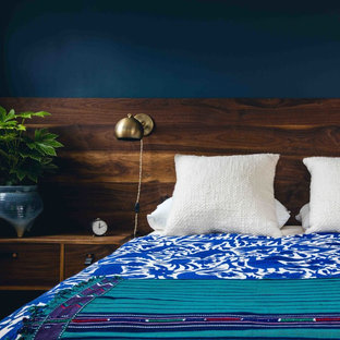 Mid-sized transitional master light wood floor bedroom photo in San Francisco with blue walls