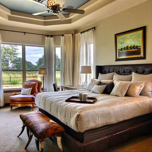 Inspiration for a timeless carpeted bedroom remodel in Austin with beige walls
