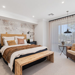 Contemporary bedroom in Perth with white walls, carpet and beige floor.