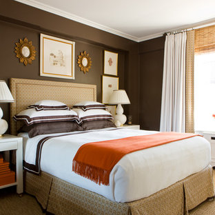 Inspiration for a timeless master carpeted bedroom remodel in Boston with brown walls