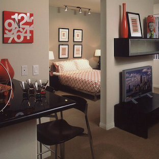 Trendy carpeted bedroom photo in Los Angeles with gray walls