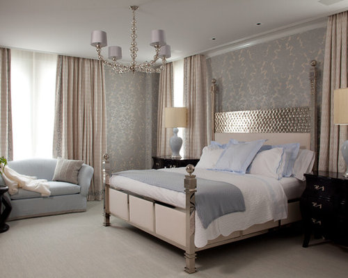 Example of a trendy bedroom design in New York with gray walls and carpetBedroom Loveseat   Houzz. Loveseat For Bedroom. Home Design Ideas