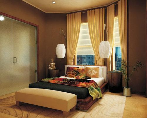Asiatische Schlafzimmer mit braunen Wänden einrichten - Ideen ...
