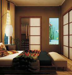asian bedroom by Marie Burgos Design