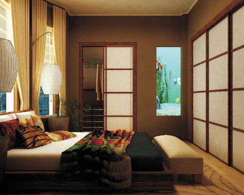 Zen Bedroom Photo In New York With Brown Walls Part 45