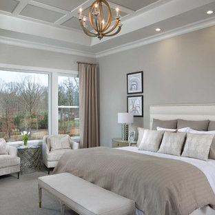Inspiration for a coastal master carpeted and gray floor bedroom remodel in Other with gray walls and no fireplace