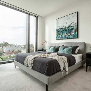 Inspiration for a mid-sized contemporary master bedroom in Melbourne with white walls, carpet and grey floor.