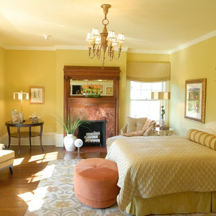 Elegant Bedroom Photo In Chicago With Yellow Walls