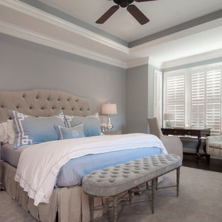 Bedroom - large transitional master dark wood floor bedroom idea in Charlotte with gray walls and no fireplace