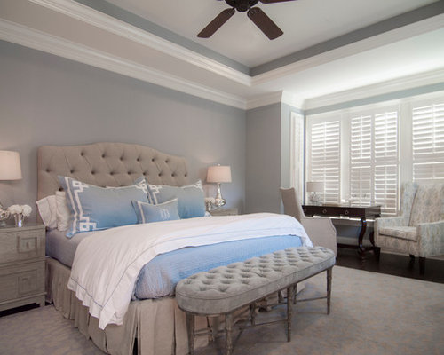 Large Transitional Master Dark Wood Floor Bedroom Idea In Charlotte With  Gray Walls