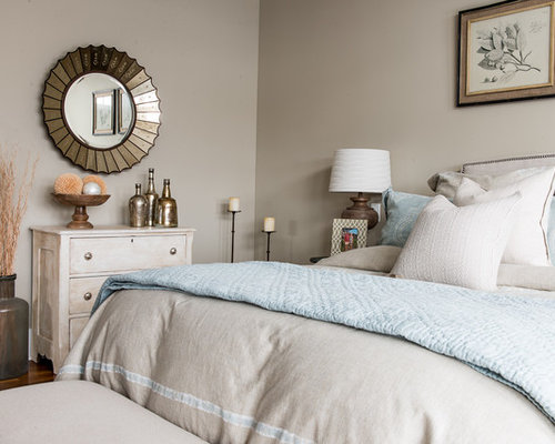Example of a mid sized transitional master medium tone wood floor and brown  floor bedroom. Linen Bedding   Houzz