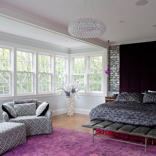 Large trendy master carpeted bedroom photo in Boston with gray walls and no fireplace