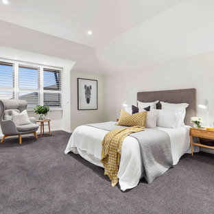 Design ideas for a mid-sized transitional master bedroom in Melbourne with white walls, carpet and grey floor.