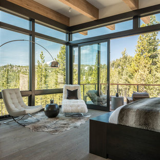 Contemporary bedroom in Salt Lake City with a standard fireplace and light hardwood floors.