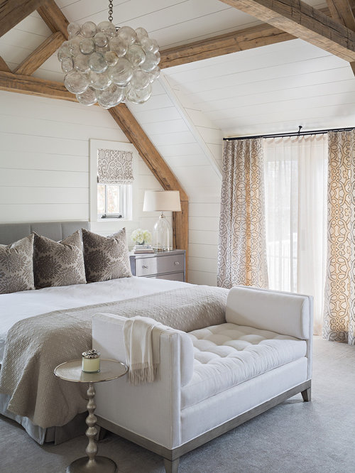 Bedroom   Mid Sized Transitional Master Carpeted Bedroom Idea In Boston  With White Walls