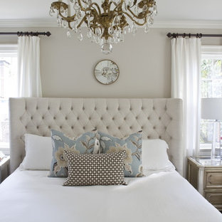 Bedroom - mid-sized traditional master bedroom idea in Atlanta with gray walls and no fireplace