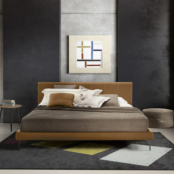 Clio Leather Platform Bed by Gamma