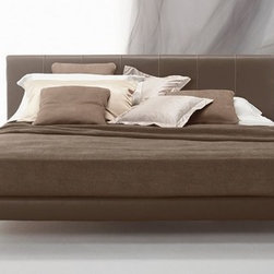 Clio Night Bed - Hardwood frame Headboard in polyurethane with leather cover European wooden slats